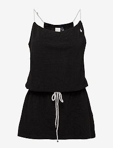 ICONIC TERRY COVERS ROPE DRESS - BLACK