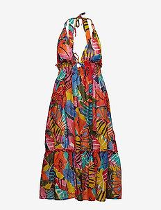 Batik Floral Halter Dress - MULTI