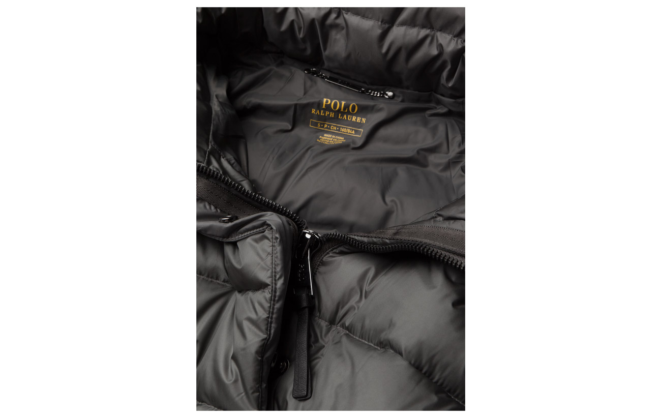 Magnum Ralph Grey Lauren Nylon Coat Down Polo 100 Hooded Quilted x17wqnYv