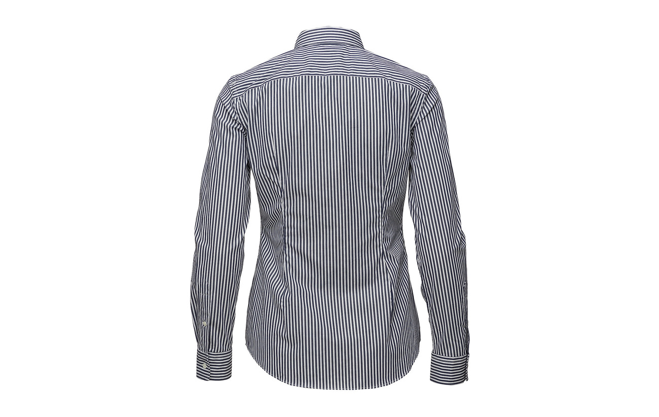 Coton Shirt 3 Striped Elastane 97 Lauren Black Ralph 556d Slim Stretch Polo white Bvqcw