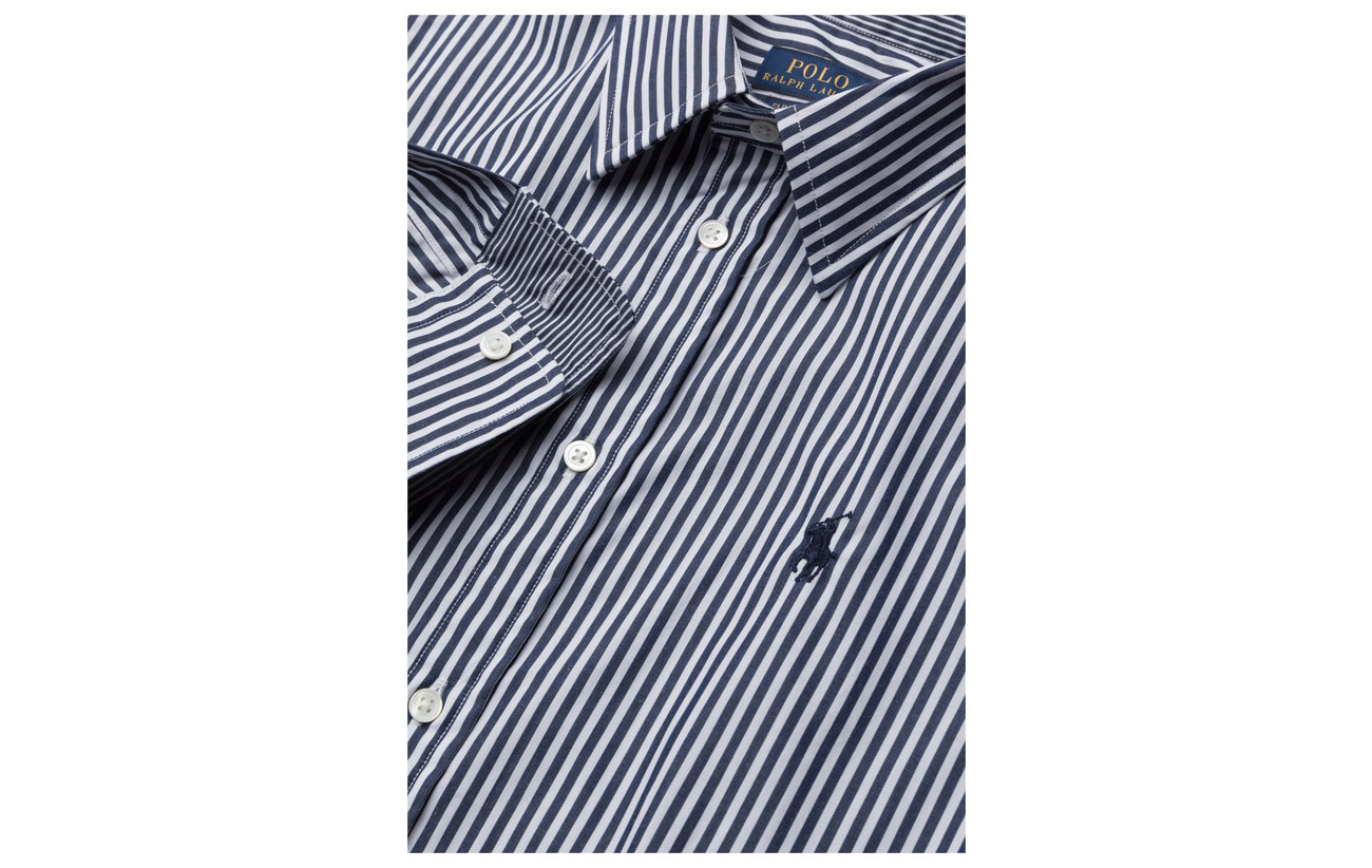 Stretch 3 97 Spring Slim Ralph Coton 556a Lauren Blue Striped Shirt Polo Elastane qnPCREwxzn