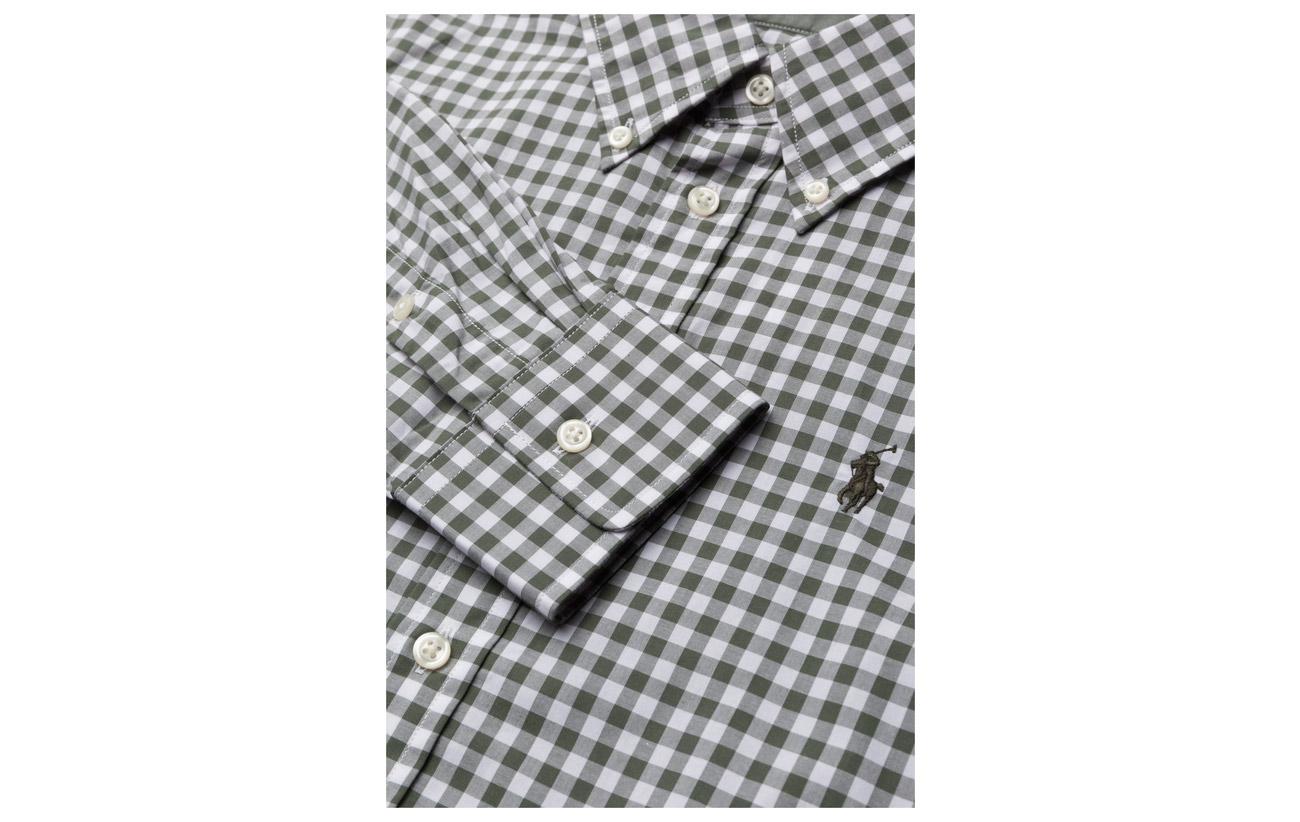 Polo Coton Lauren 566e 100 Fit Slim Army white Gingham Ralph Poplin Shirt 0HP0Uxn