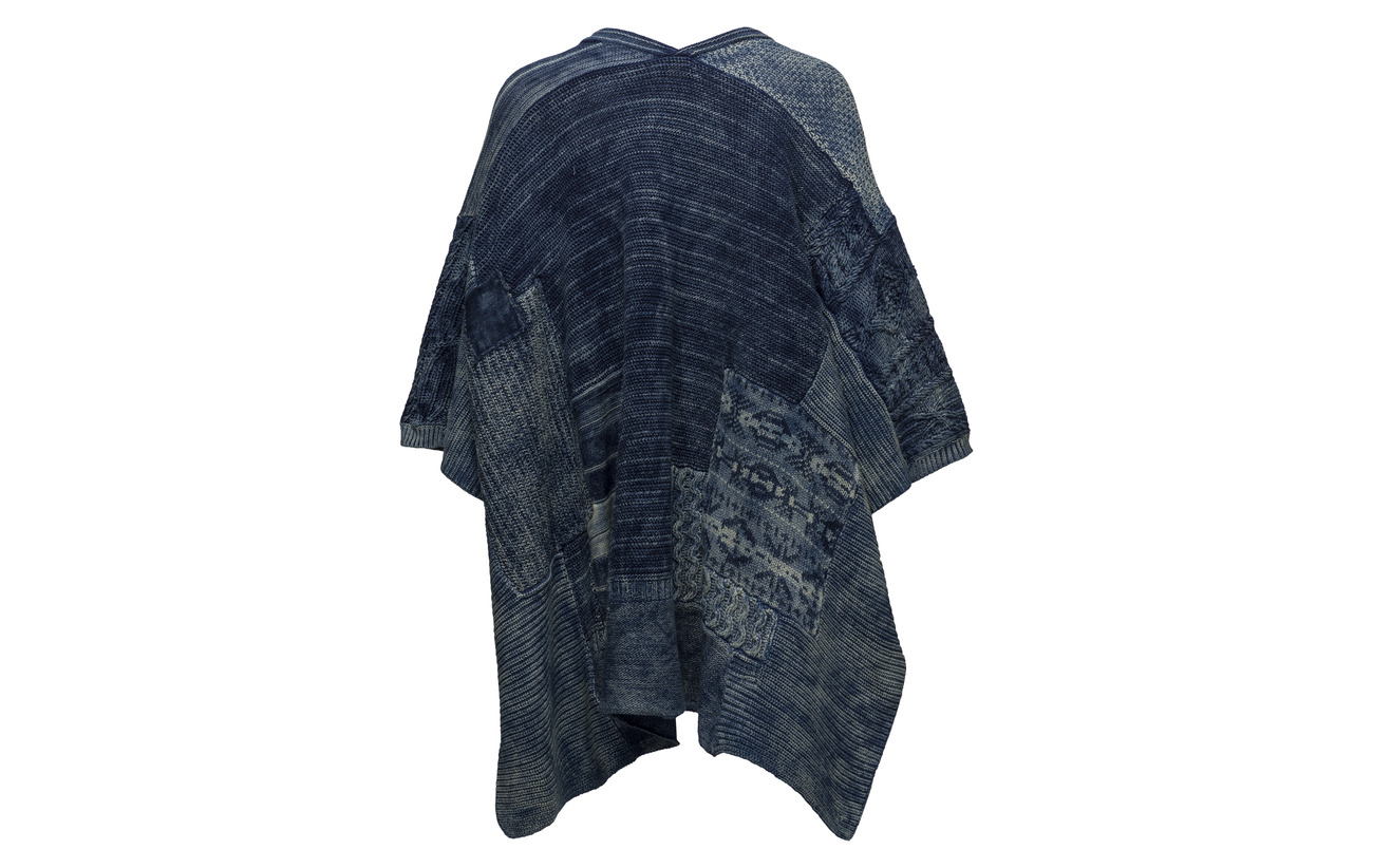 Patchwork 100 front Ralph Cardigan Open Indigo Coton Lauren Polo Multi 8Ew7R