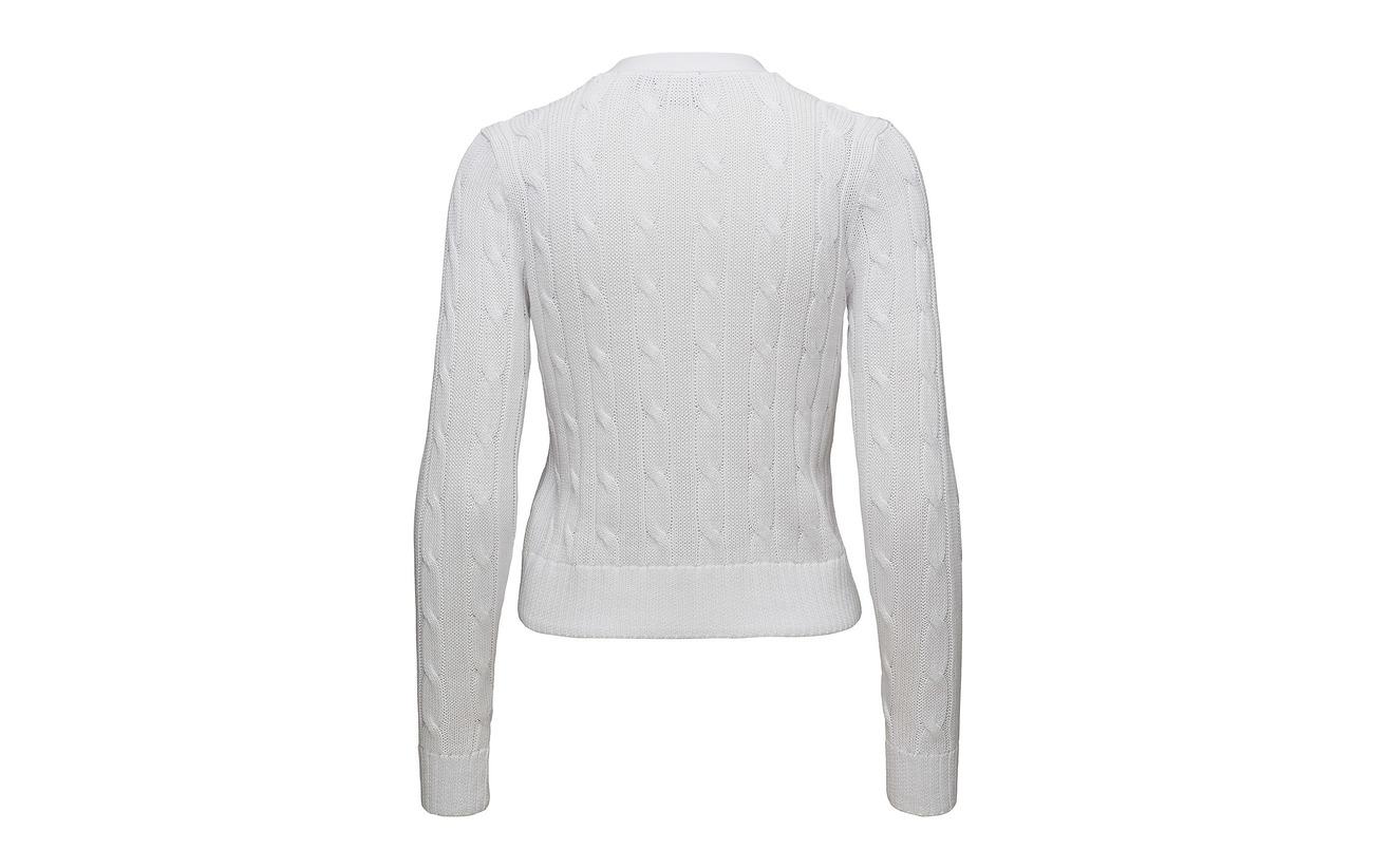 100 Ralph White Pimacotton Cable Lauren Cotton Polo Cardigan qgSfY7fx