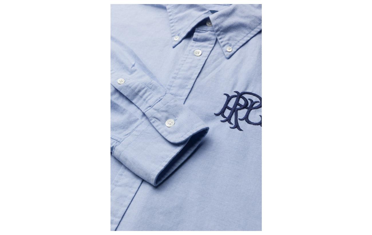 Blue Lauren Shirt 100 Coton Ralph Monogrammed Polo Hyacinth Oxford xXf1Azq