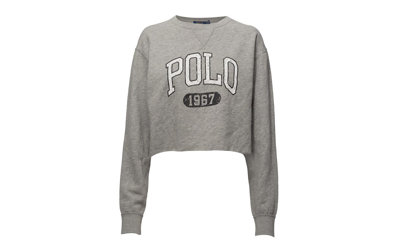 Ralph Sweatshirt 40 Polo Fleece Lauren 60 Andover Polyester Coton Heather Cropped xPqn1qH
