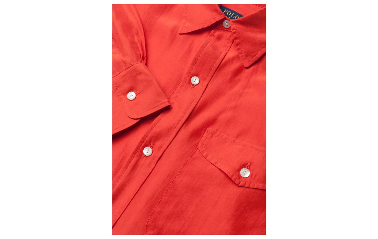 100 Silk Tomato Lauren Soie Shirt Ralph Polo fZFwn
