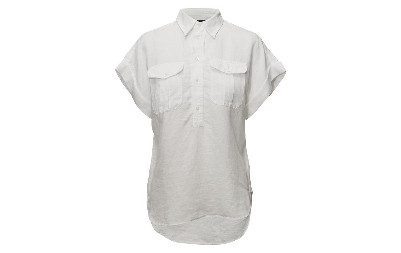 Ralph sht White Dye Piece Lin ssl Polo 100 Linen Lauren andqw7f7