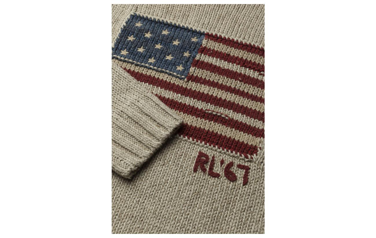 41 Soie Coton Lauren Polo 9 Ralph Multi Oatmeal Rollneck Lin 50 Flag Sweater aqOwxgBz