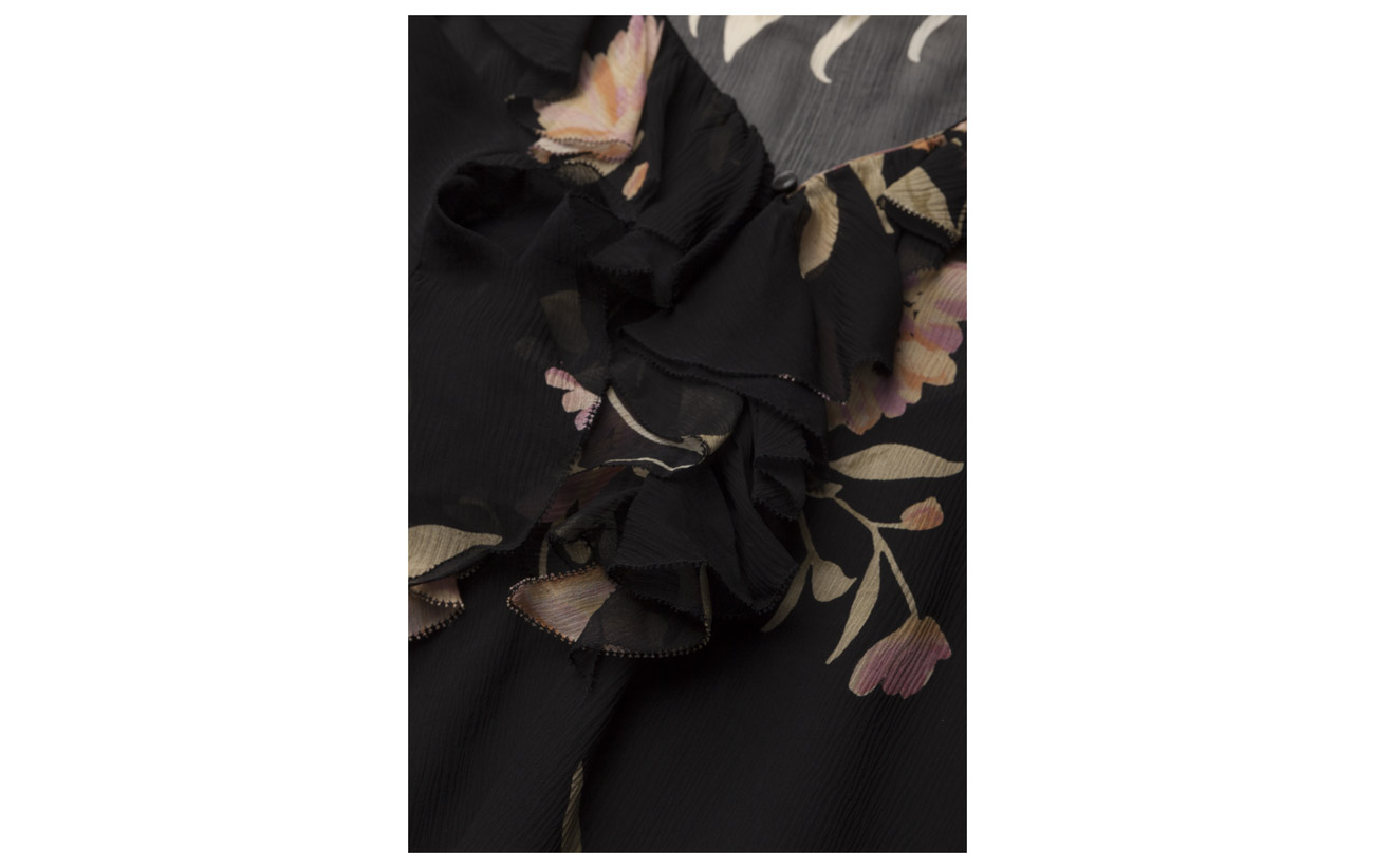 Polyester Blush Polo Blouse Dusky Silk Lauren 100 Soie Coquille Ruffled Ralph Floral Camisole Flora Extérieure pwpPq1Z