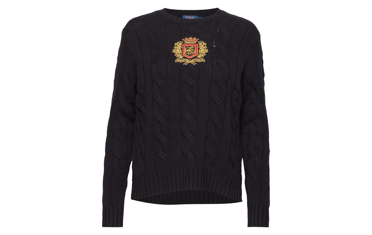 90 lsl Laine Wool Ralph cashmere Lauren swt Polo 10 Mérino Cachemire Blend Black 681xwqX