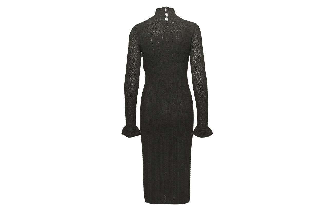 Sweater Lauren Pointelle Polo 100 Wool Dress Ralph Mérino Laine Black xFwqaAI