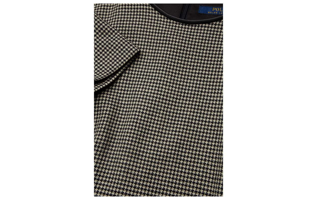 Ralph Bordure 100 Lauren De Polo white Black Shift Houndstooth Chèvre Détails Cuir Hound Dress Peau 1aUqf