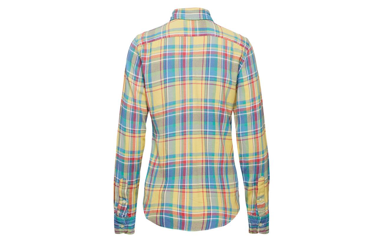 Yellow Twill 962 100 Classic Lauren Coton Shirt Fit Plaid blue Ralph Polo X68Bq