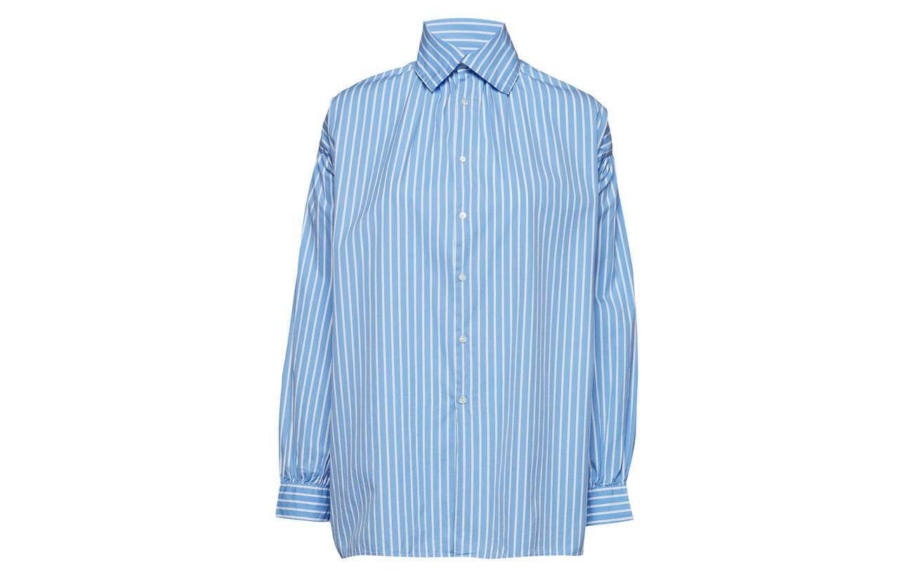 Blue Polo Button Lauren 954 100 down Coton Puff sleeve Ralph white RPRq4wS