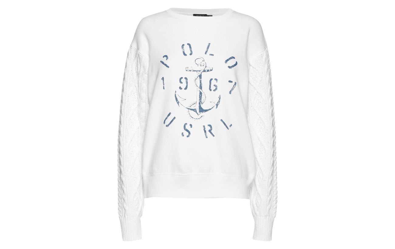 Lauren Polo 84 Aran 16 Ralph Coton Pullover Nevis knit Polyester Fleece qPgS1UTqc