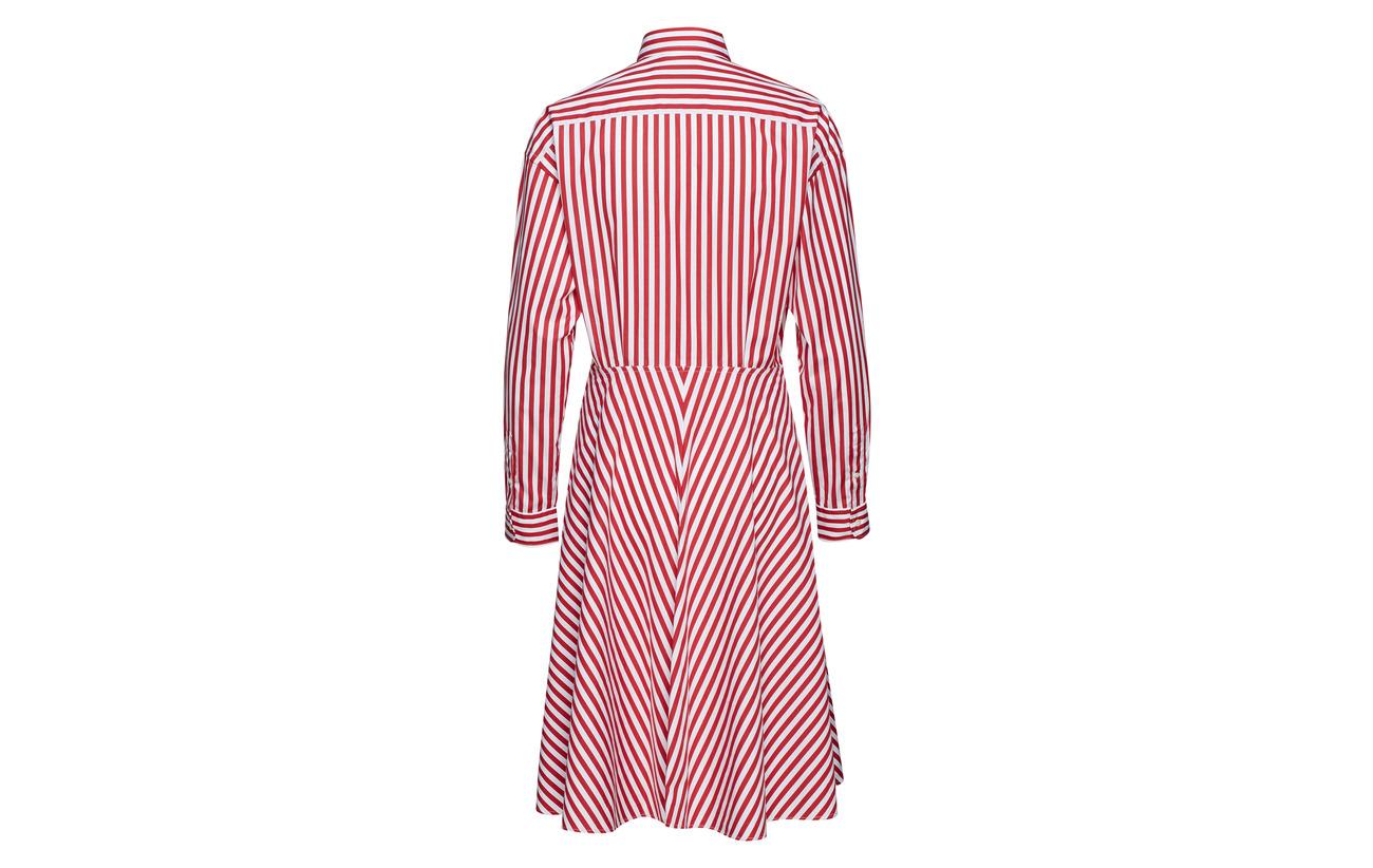 Broadcloth Cotton 100 955a Coton Shirtdress Red Lauren Polo Ralph White 6xwtgn