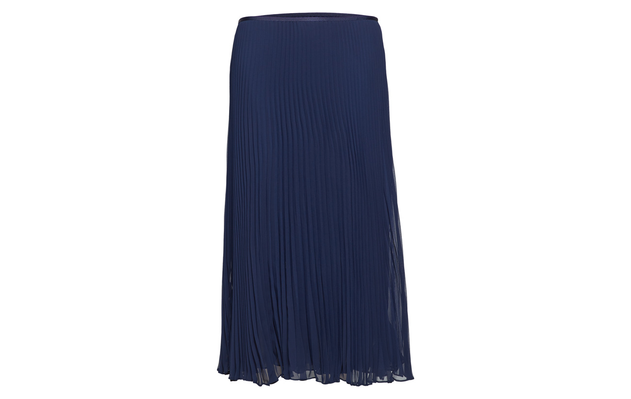 Ralph Skirt Polyester Cruise 100 Lauren Polo Navy Midi Georgette Pleated dHxqXZ