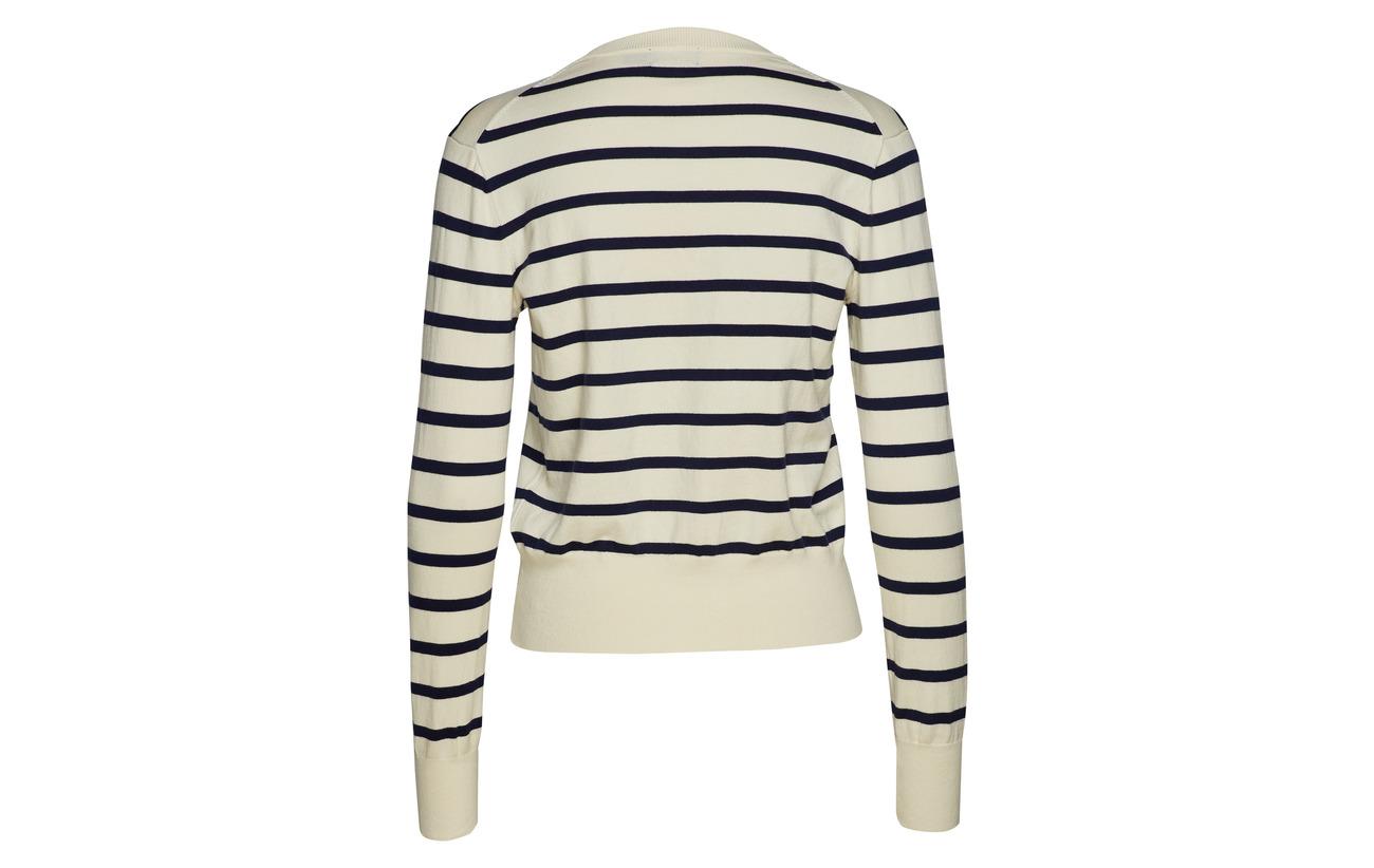 Polo Dark Cream Pima Cardigan bright Coton Striped Ralph 100 Sweater Lauren rw1CBTrqn