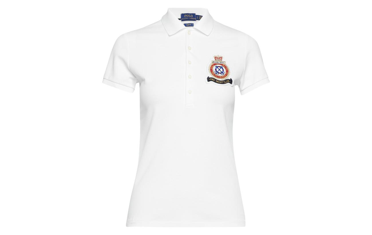 3 Shirt Fit Elastane White Ralph 97 Coton Lauren Polo Crest Slim SRAzxUw