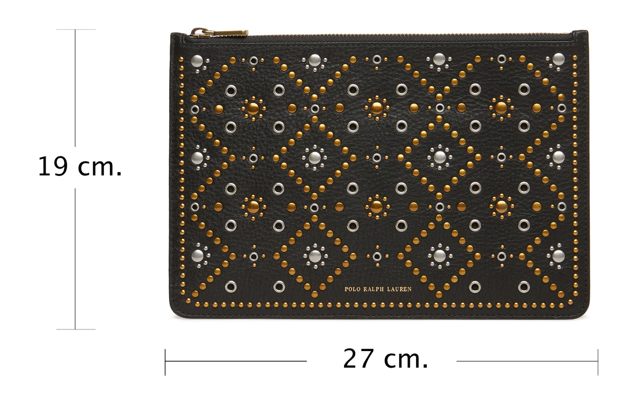 Lauren Ralph 100 Polo Black Bordure Supertouch stud Coton Pouch pch Studding 5pqdqfw