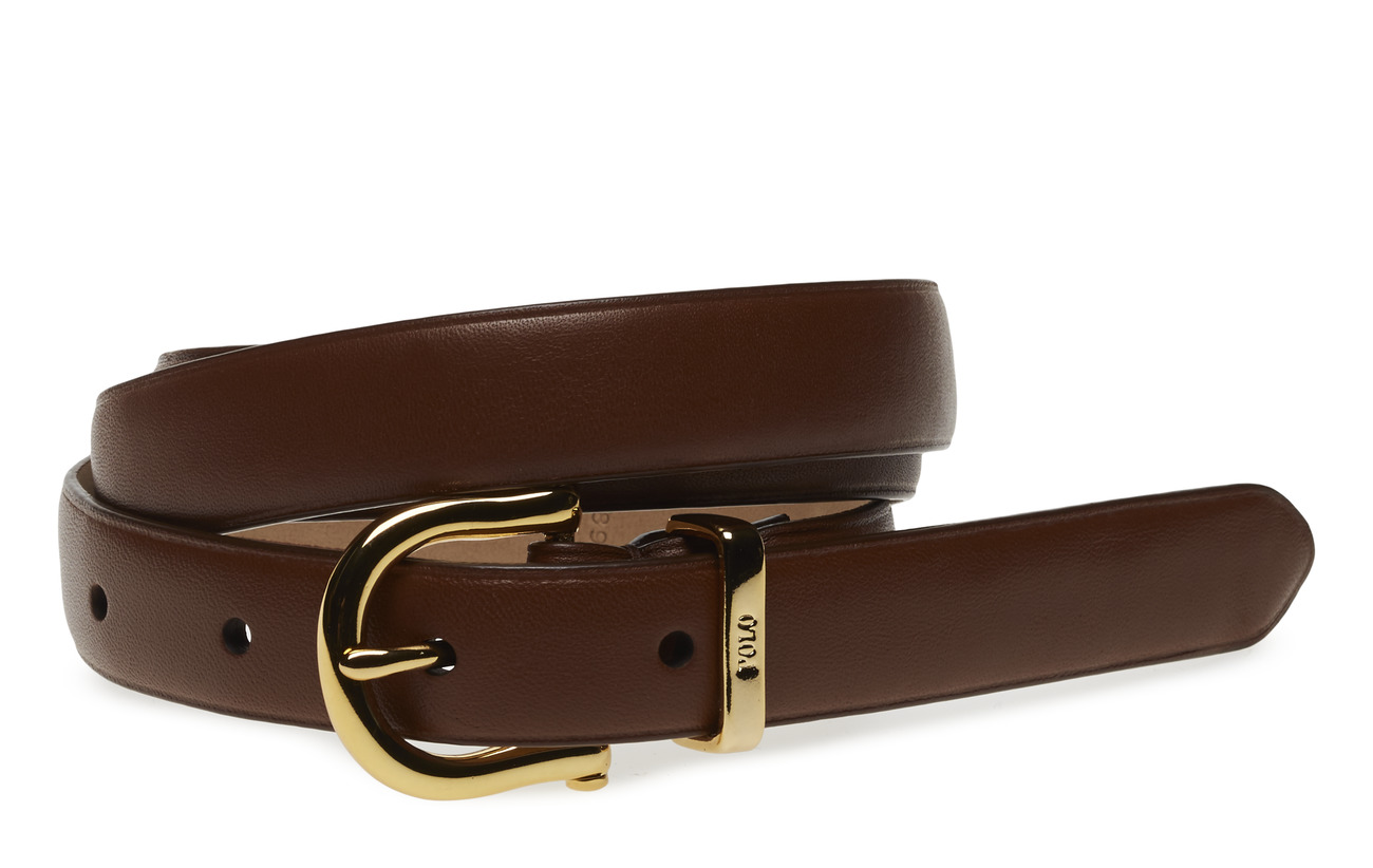 Polo Ralph Lauren Nappa Leather Skinny Belt - SADDLE