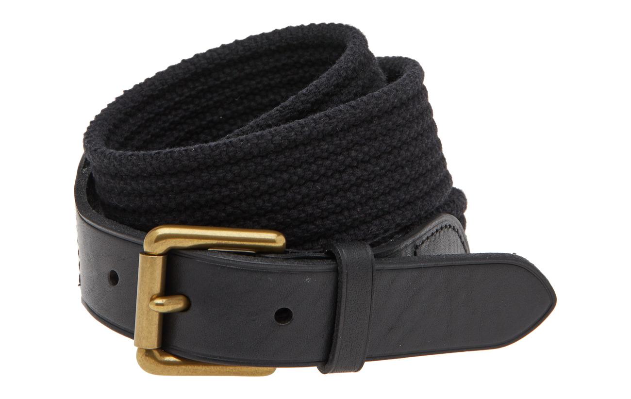 Polo Ralph Lauren WEBBING/LEATHER-RIBBED WEB-CSL-MED - BLACK