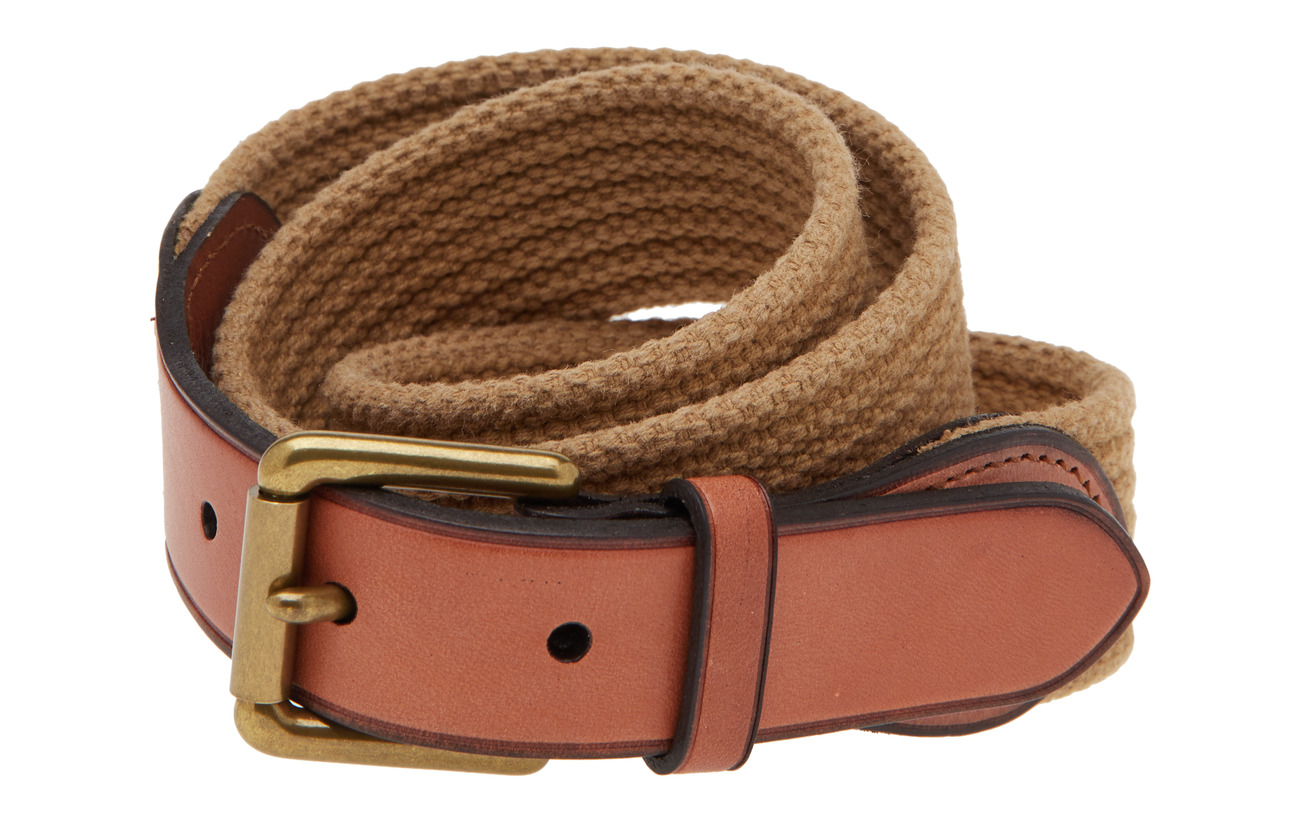 Polo Ralph Lauren WEBBING/LEATHER-RIBBED WEB-CSL-MED - KHAKI