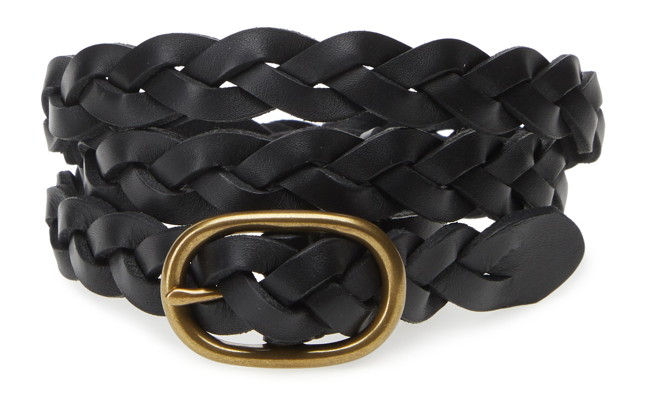 Polo Ralph Lauren Braided Leather Skinny Belt - BLACK