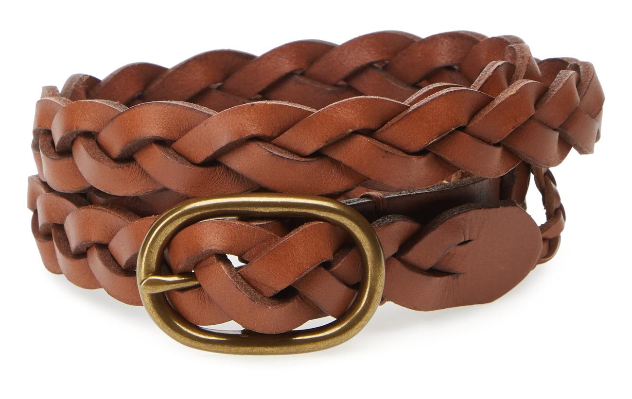 Polo Ralph Lauren Braided Leather Skinny Belt - TAN