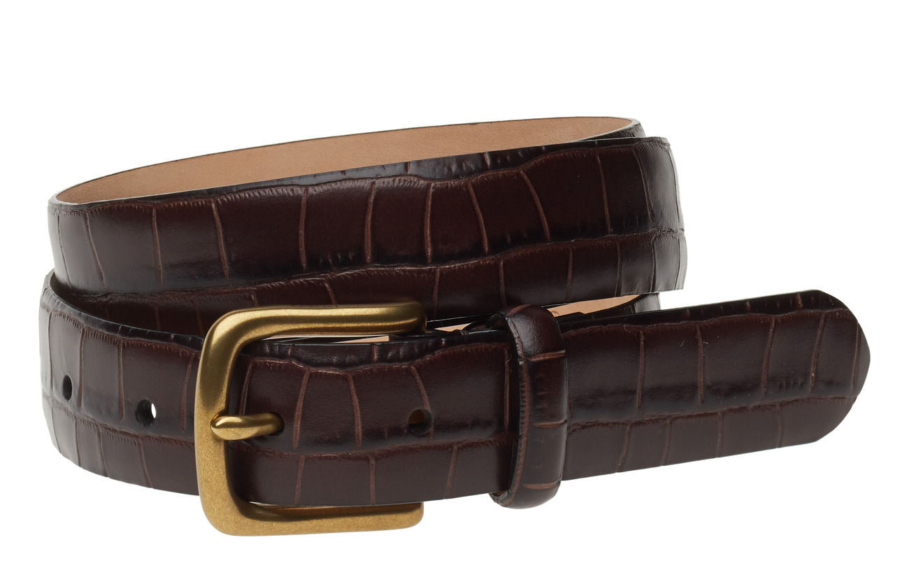 Polo Ralph Lauren Crocodile-Embossed Belt - CHOCOLATE