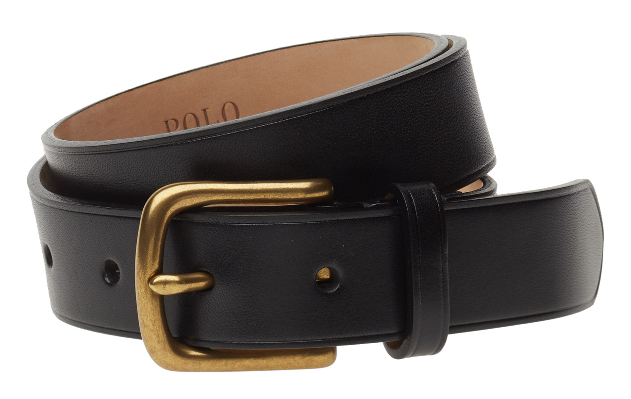 Polo Ralph Lauren LEATHER-DRESS BELT-DRS-SNY - BLACK