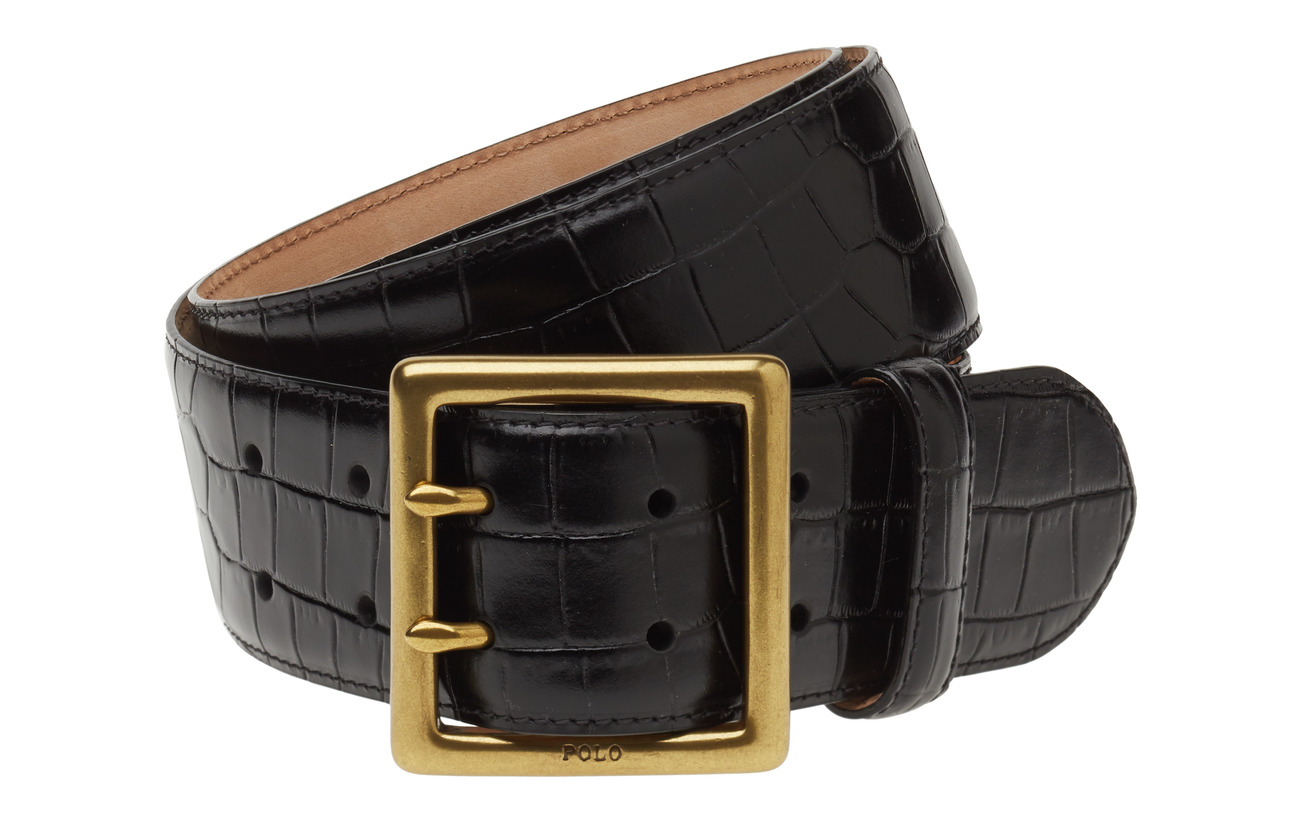 Polo Ralph Lauren CROC EMBOSSED LTHR-CENTRBR BELT-CSL - BLACK