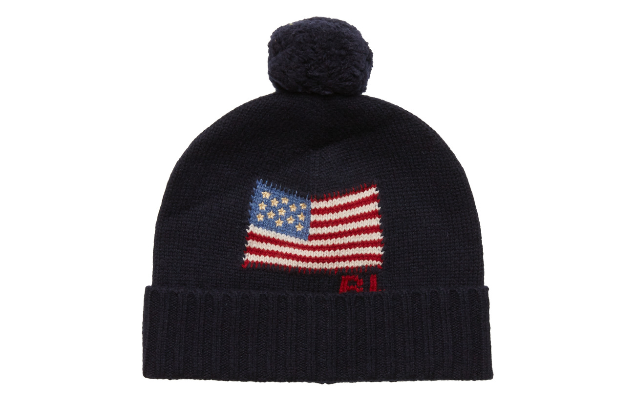 Polo Ralph Lauren Flag Wool Pom-Pom Hat - NAVY
