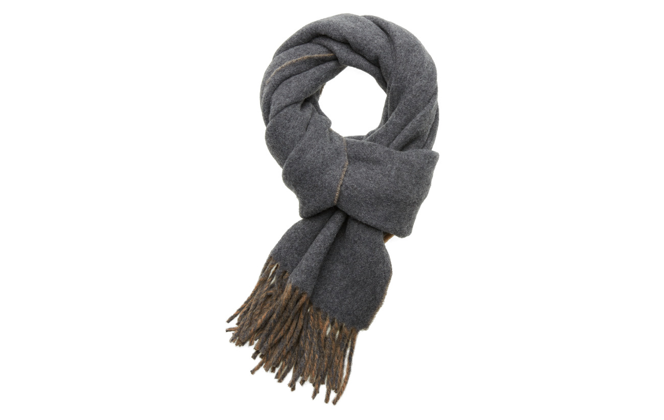 Polo Ralph Lauren WOOL NYLON-SIGN SCARF-OBS - GREY/CAMEL