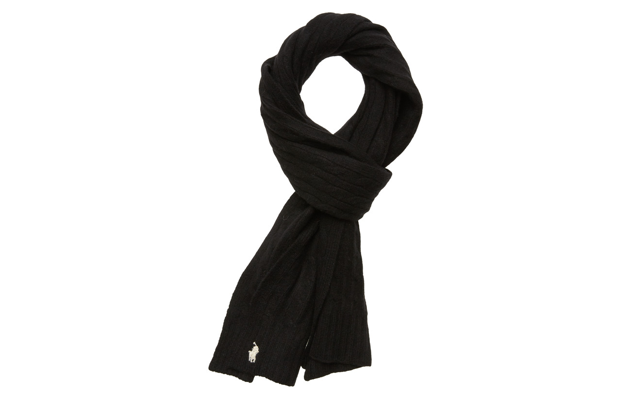 Polo Ralph Lauren WOOL/CASHMERE-CABLE SCARF-OBS - POLO BLACK