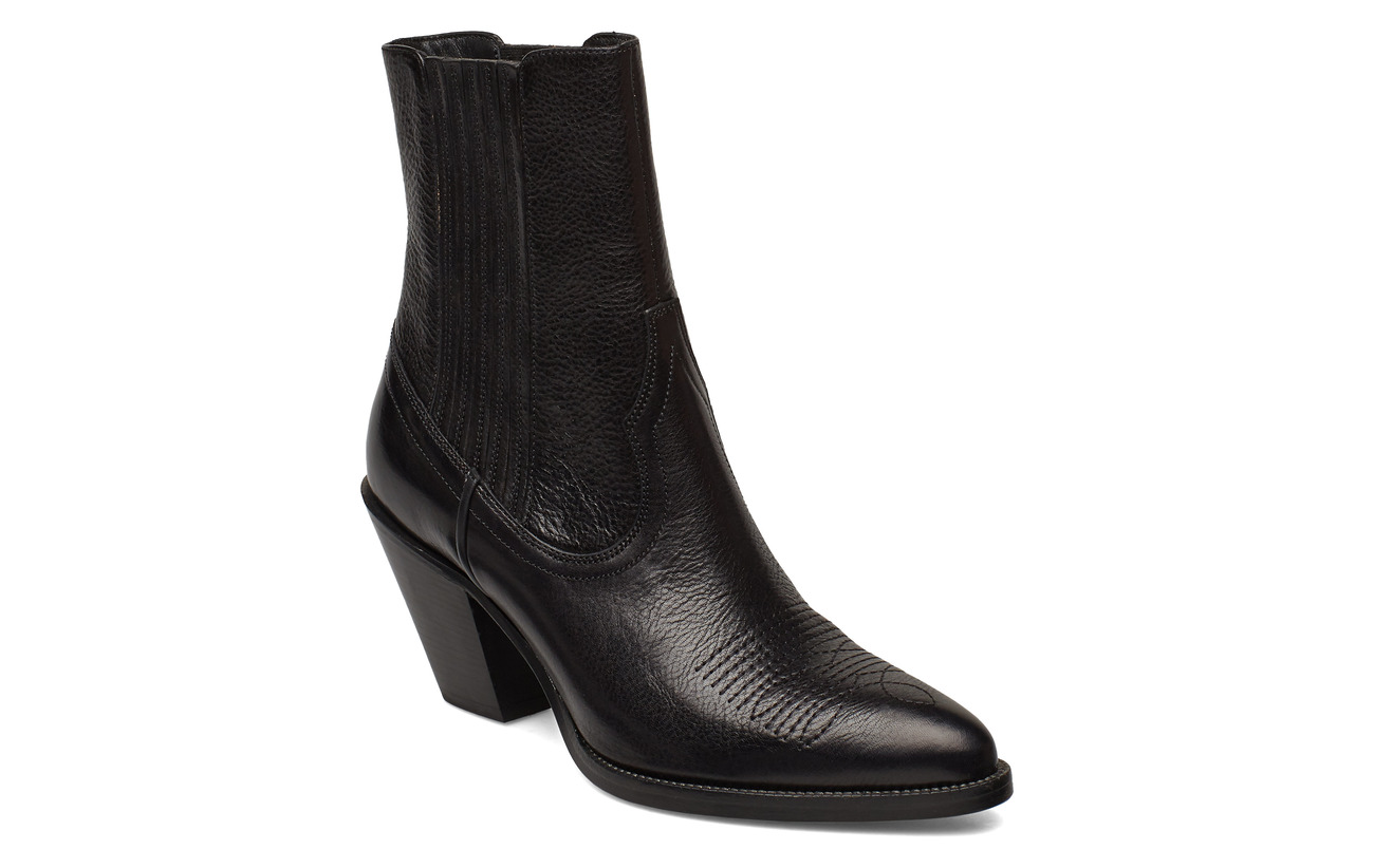 Polo Ralph Lauren Lowrey Leather Cowboy Boot - BLACK