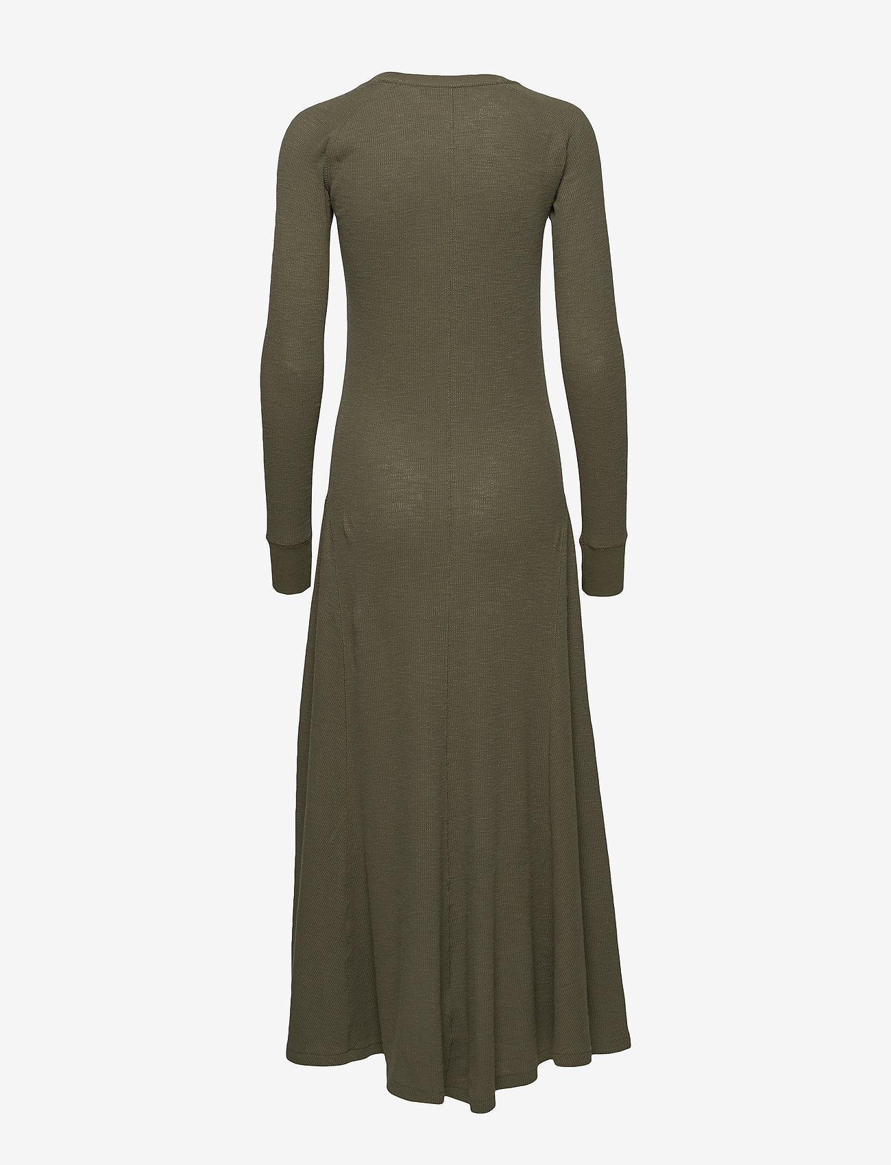Polo Ralph Lauren - Waffle-Knit Henley Dress - maxi dresses - defender green - 1