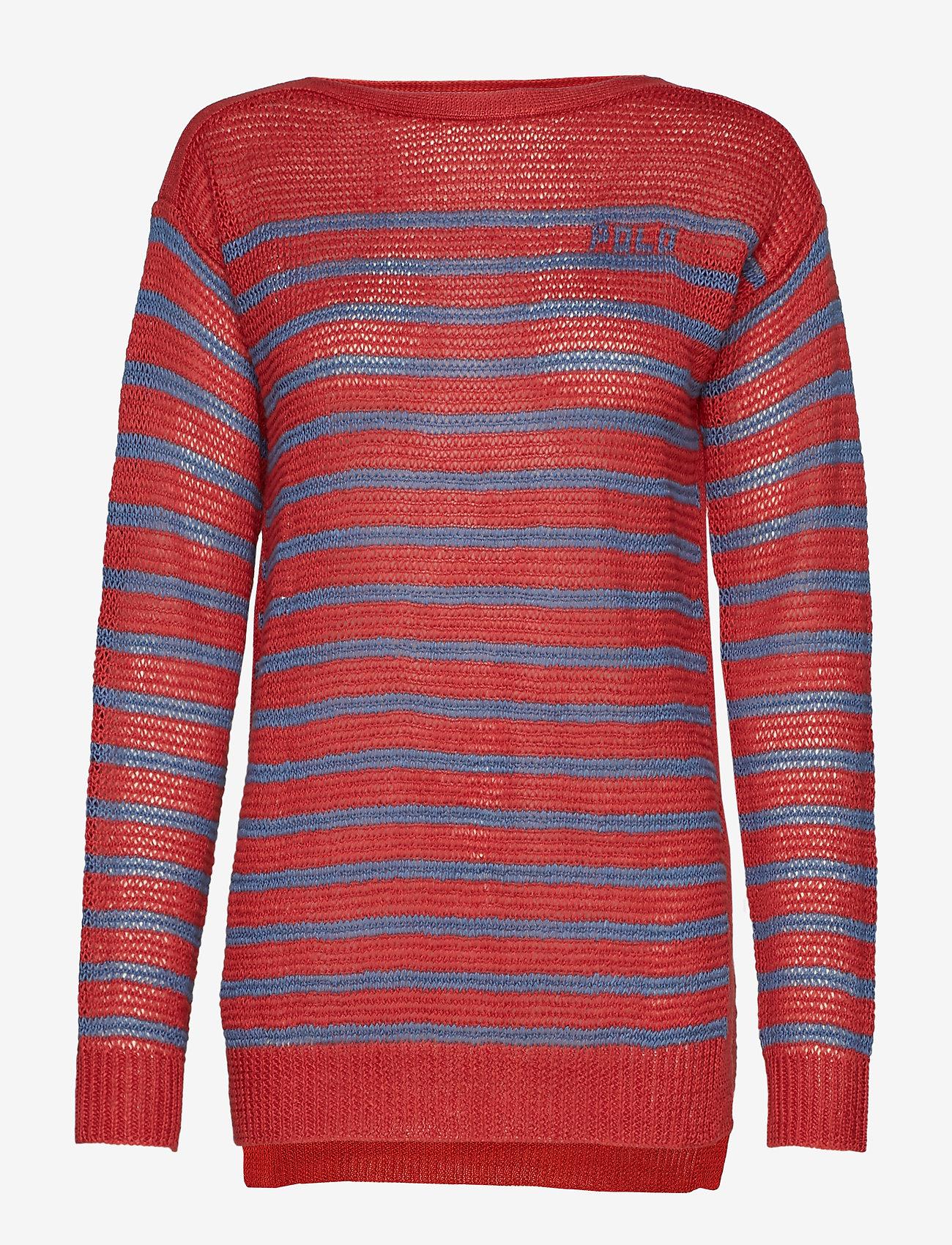 Polo Ralph Lauren Polo Striped Linen Sweater - Dzianina ADIRONDACK BERRY/ - Kobiety Odzież.