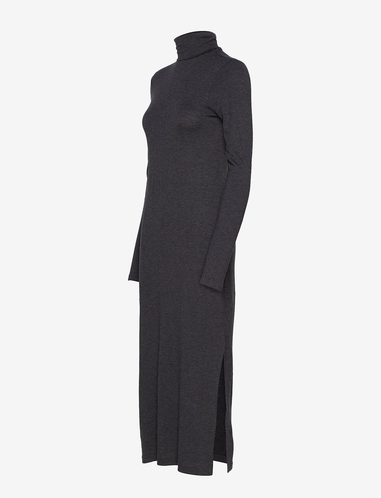 Polo Ralph Lauren WOOL JERSEY-LSL-CSD - Sukienki ONYX HEATHER - Kobiety Odzież.
