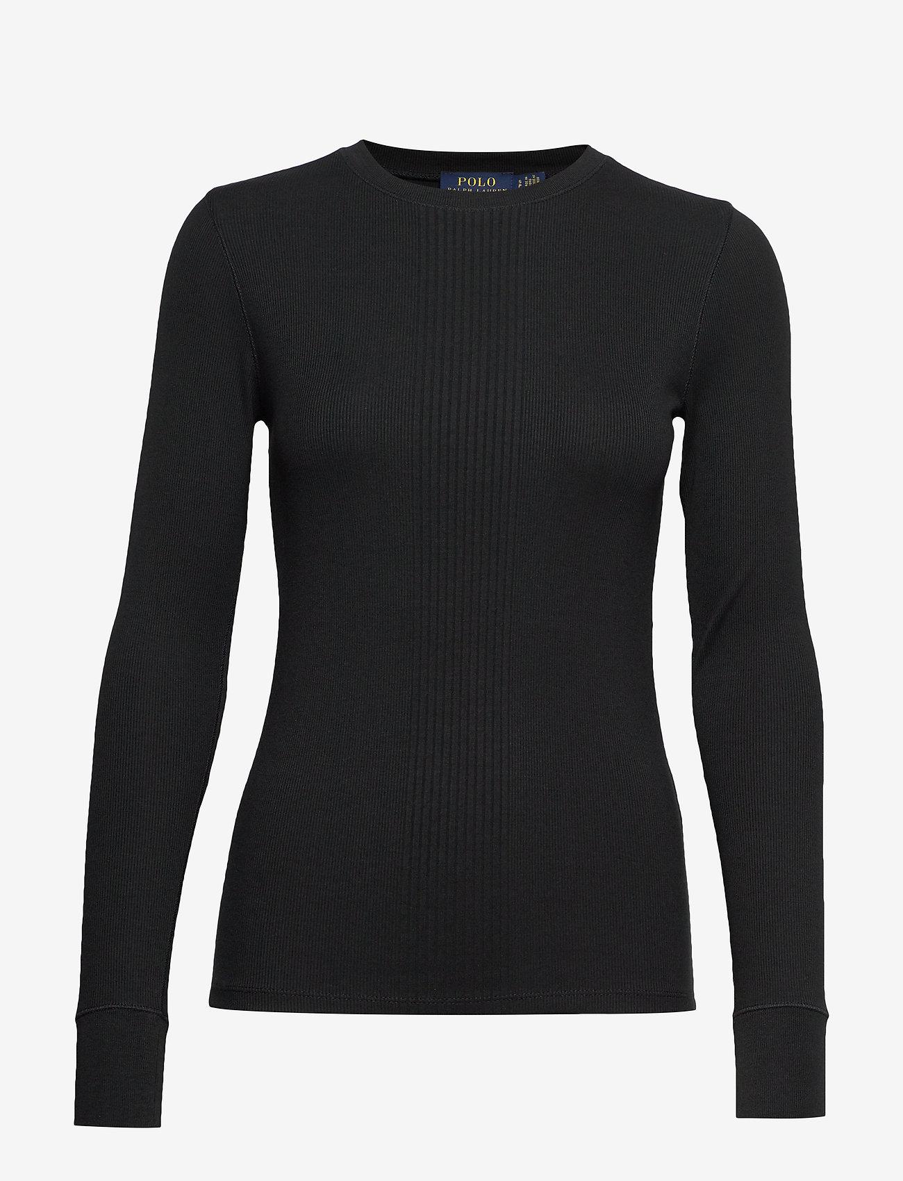 Polo Ralph Lauren - Elbow-Patch Rib-Knit Top - neulepuserot - polo black
