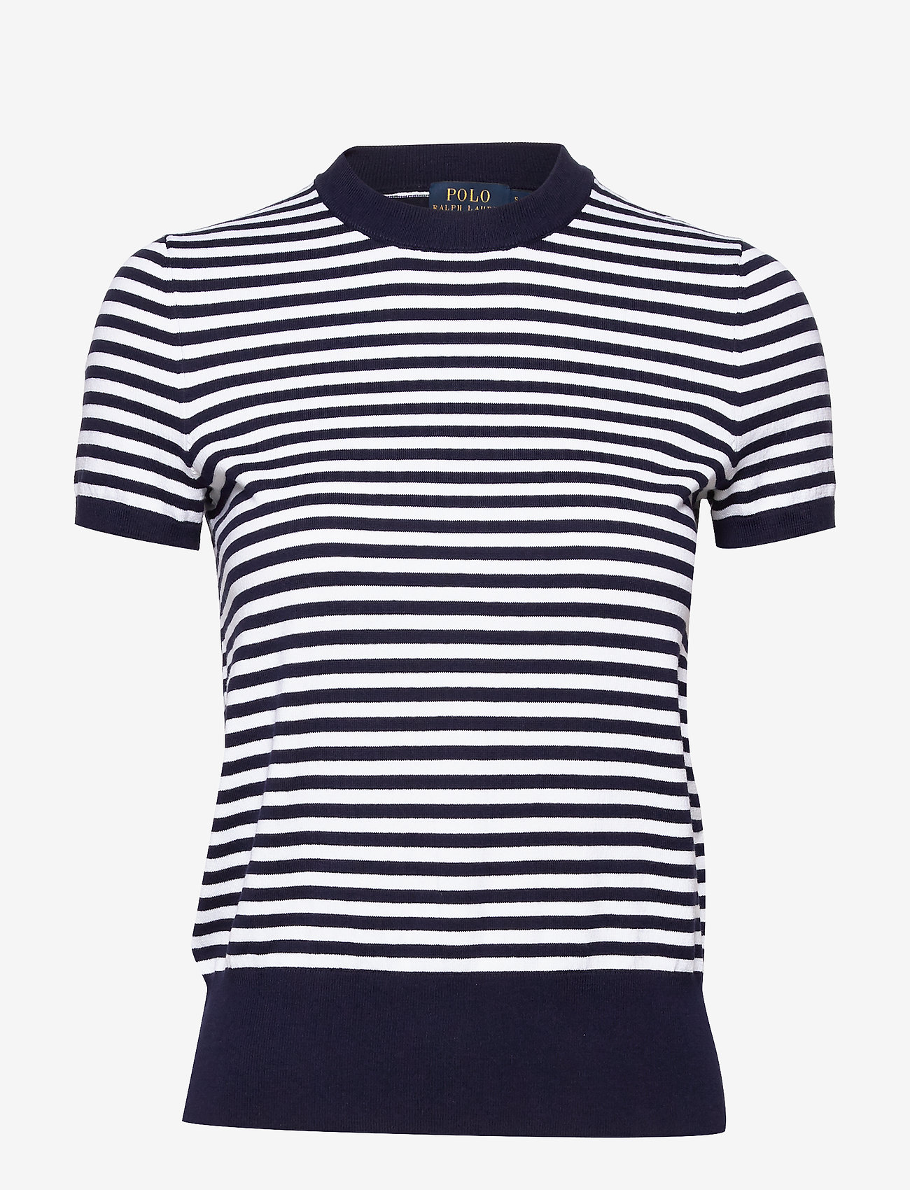 Polo Ralph Lauren - Striped Short-Sleeve Sweater - striped t-shirts - bright navy/white
