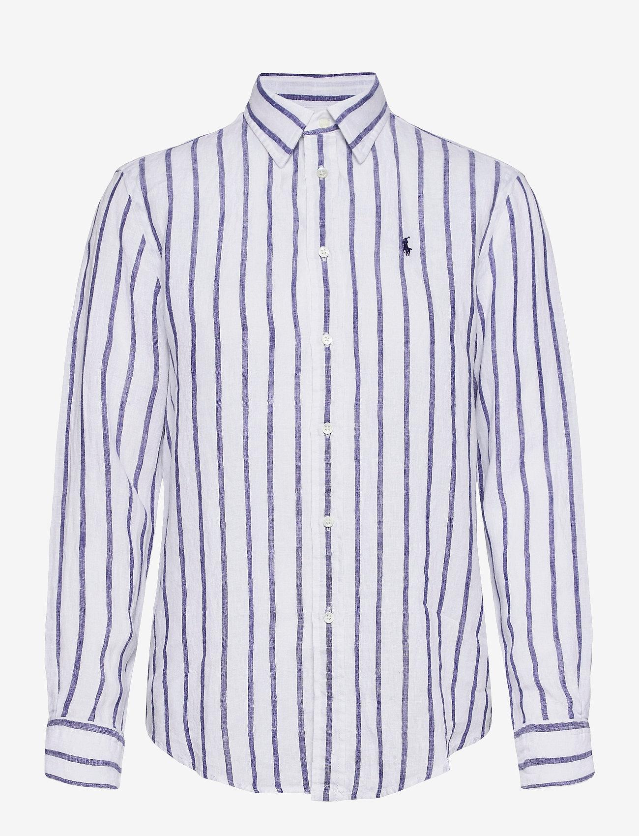 Polo Ralph Lauren - Relaxed Fit Linen Shirt - langærmede skjorter - 925 white/blue - 1