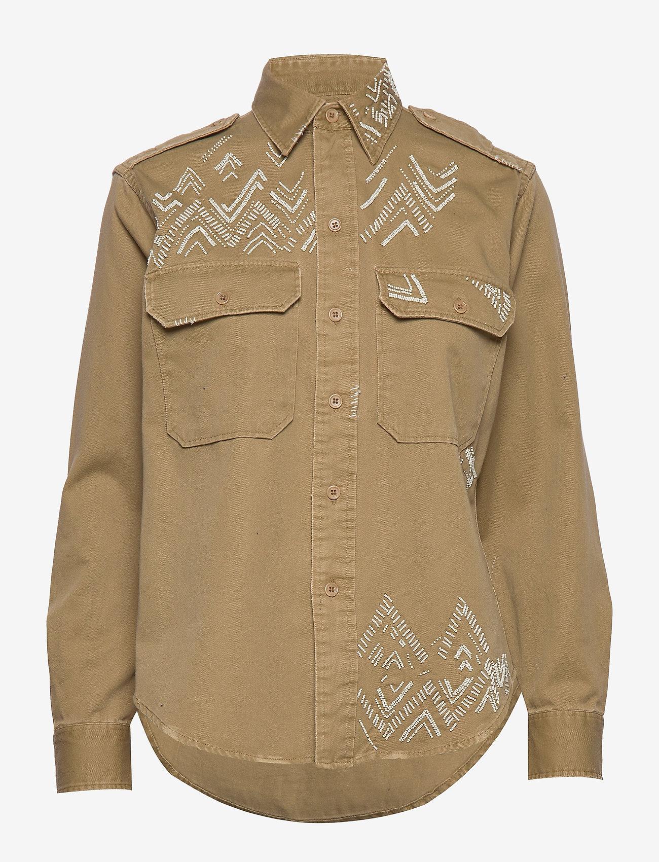 Polo Ralph Lauren - Beaded Twill Shirt - long-sleeved shirts - desert tan - 0