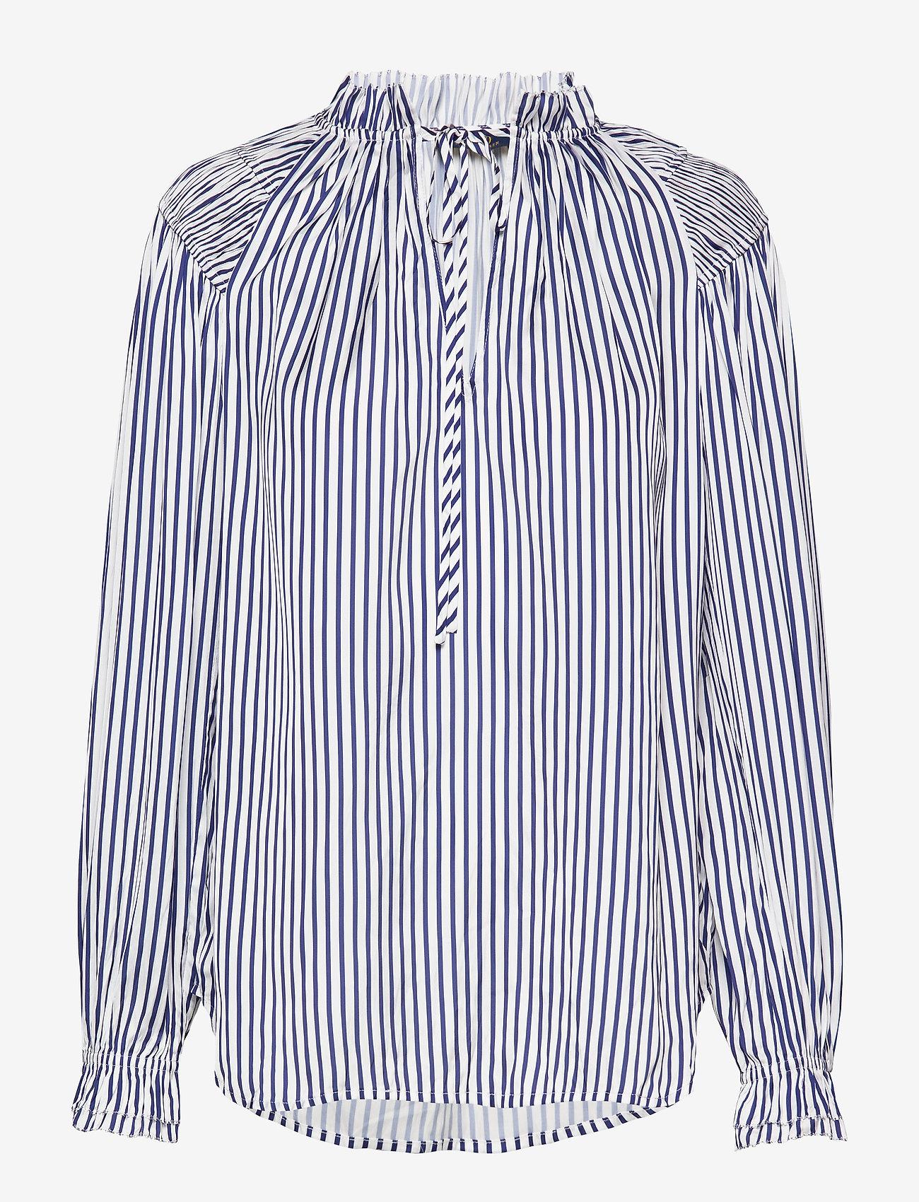 Polo Ralph Lauren - Striped Satin Shirt - bluzki z długimi rękawami - 523 white/blue - 0