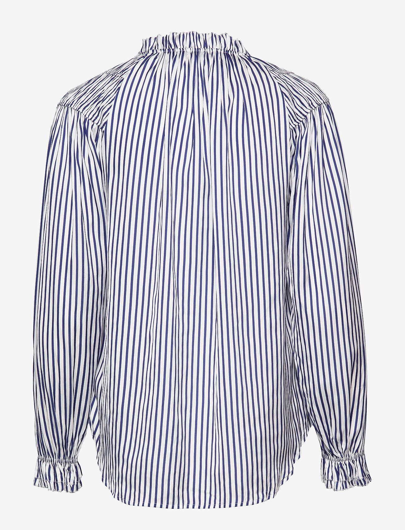 Polo Ralph Lauren - Striped Satin Shirt - bluzki z długimi rękawami - 523 white/blue - 1