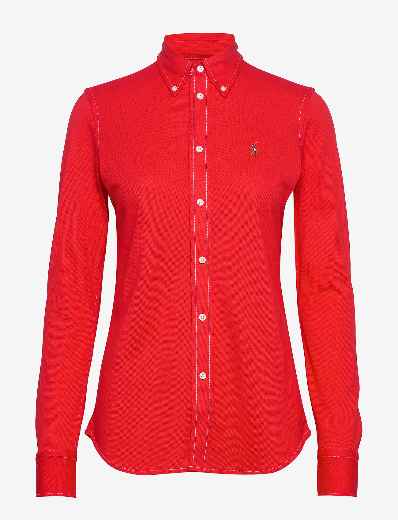 Polo Ralph Lauren - Cotton Knit Oxford Shirt - long-sleeved shirts - african red - 0