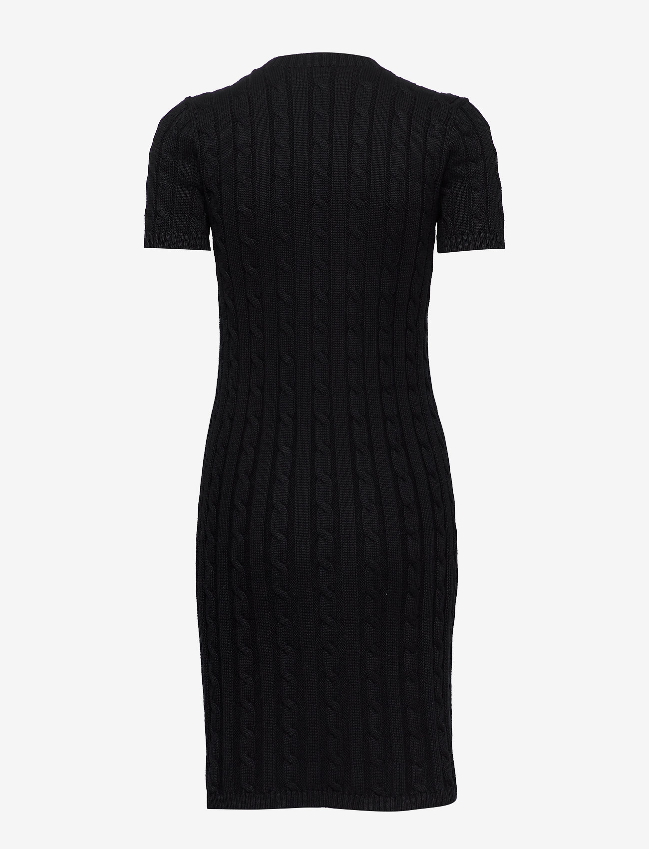 Polo Ralph Lauren - Cable-Knit Cotton Dress - knitted dresses - polo black