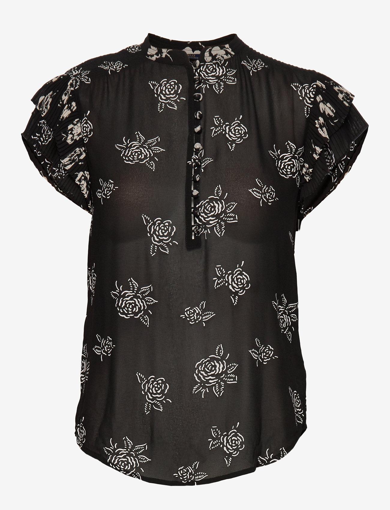 Polo Ralph Lauren - Rose-Print Crepe Blouse - short-sleeved blouses - black/white flora