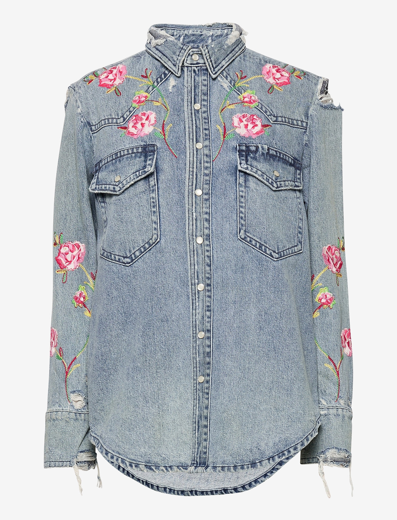 Polo Ralph Lauren - Embroidered Denim Shirt - jeansblouses - medium indigo - 0